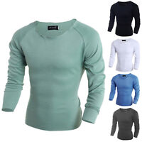 Stylish Mens Men Casual Long Sleeve Shirts Slim Fit T-Shirt Fashion Tops Blouse