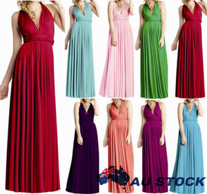 Womens-Convertible-Infinity-Long-Maxi-Dress-Bridesmaid-High-Waist-Prom-Formal