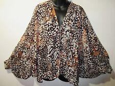 Top Fits L XL 1X 2X 3X Plus Brown Tan Leopard Dolman Vest Jacket Sheer NWT D018