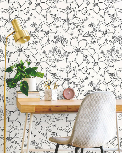 Peel-and-Stick Removable Wallpaper Floral Black Flowers Psychedelic Punk Neon