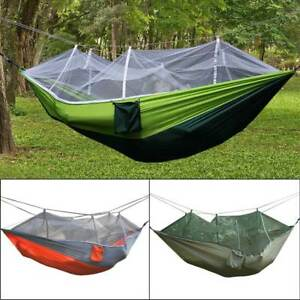 Popular Brand 260x140cm Portable Parachute Fabric Camping Hammock Hanging Bed With Mosquito Net Sleeping Hammock Outdoor Hamaca Warm And Windproof Sleeping Bags Sports & Entertainment