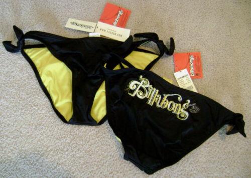 Bikini Bottoms Stitched sz S NEW BILLABONG Black Yellow Swimsuit