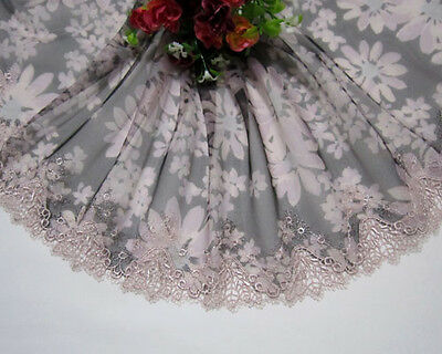 "8""*1yard Printing & Embroidered Black Tulle Lace Trim Sewing / Craft"