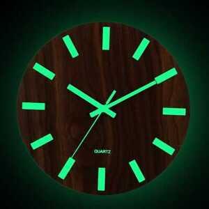 12 In (environ 30.48 Cm) Lumineux Horloge Murale Bois Silencieux Home Decor Quartz Mural Horloge-afficher Le Titre D'origine