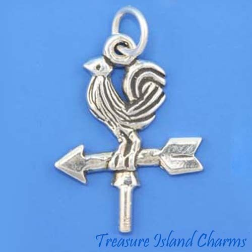 ROOSTER WEATHER VANE .925 Sterling Silver Charm NEW MADE IN USA