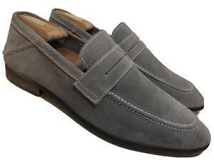 STEVE-MADDEN-Slash-Mens-11-M-Gray-Suede-Penny-Loafers-Dress-Casual-Shoes-Leather