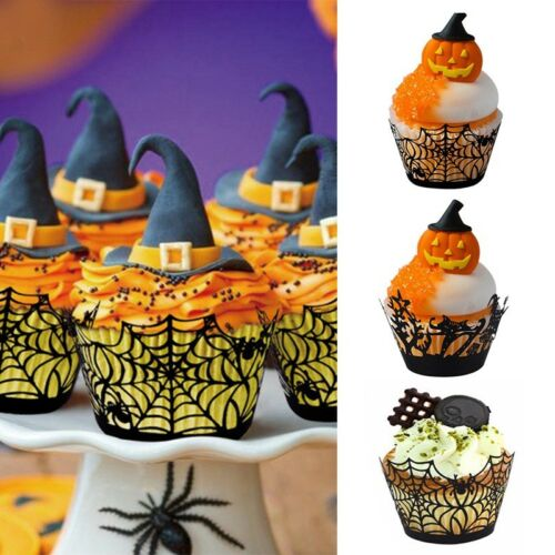 12Pcs//Set Halloween Spider Cupcake Wrappers Paper Cake Topper Favor Party Decors