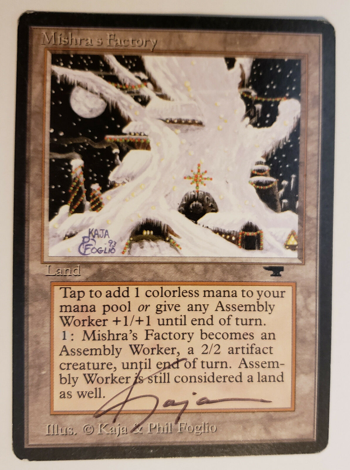 MTG X1  Mishra's Factory (Winter), Antiquities, R, MP - Signed by Kaja Foglio