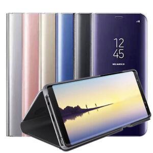 para-Samsung-Galaxy-Note-8-claro-de-vista-espejo-Cuero-Libro-Funda-con-Soporte