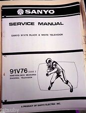 SANYO Vintage Original Black and White Television 91V76 Code 2 Service Manual