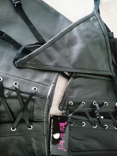 LEATHER LOOK SIZE S,M,L,XL GOTHIC STEAM PUNK BLACK CORSET MINI SKIRT /& G-STRING