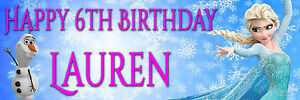 2x-Personalised-frozen-Birthday-party-banners-Any-name-amp-Age-banner-36-034-x-12-034