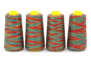 4-Konen-10960m-Multicolor-Overlock-Naehgarn-0-15-100m-No-100-Regenbogen-bunt
