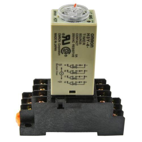 1 PC 5A with Socket Base Omron Solid State Timer H3Y-4 24V A//C Coil 0-60S