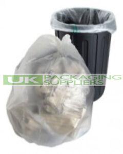 "10 CLEAR PLASTIC POLYTHENE REFUSE RUBBISH SACKS BIN LINERS BAGS 18x29x39"" - NEW"