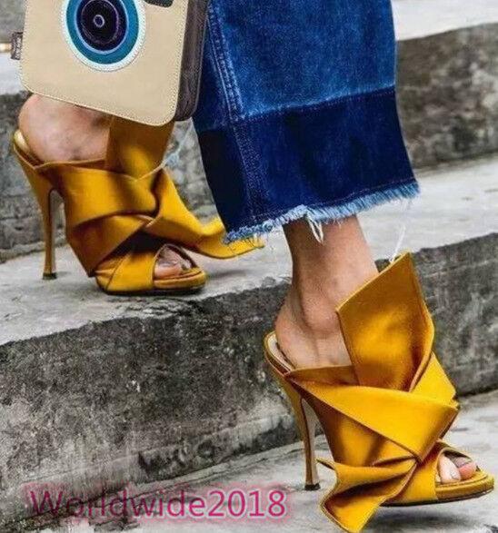 Damen Peep Toe Persönlichkeit Hausschuhe Bowknot Sandalen hohem Absatz Catwalk 4