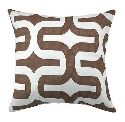 Brown and White Accent Pillow, Embrace Brown Geometric Decorative Throw Pillow