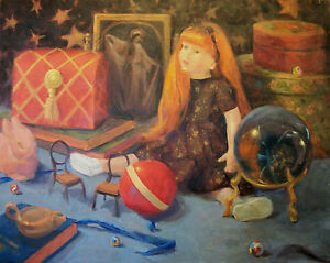 dolls-toy-magic-still-life-childhood-Original-Oil-Painting-Art-signed-Aycock