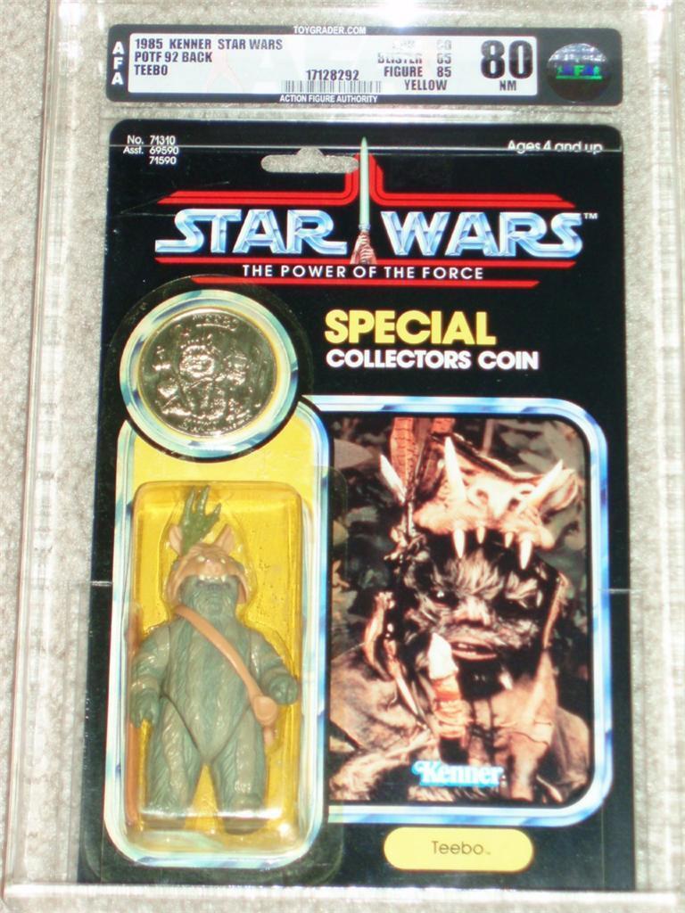 Retro Estrella Wars 1985 Raro Teebo Ewok AFA 80 85 85 Potf 92 Kenner tarjeta MOC