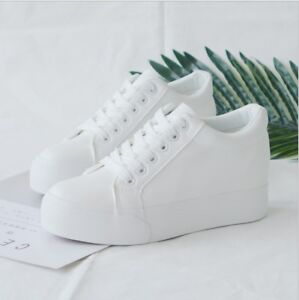 d338a1302a3 Details about WOMEN'S LADIES PU HIDDEN WEDGE HEEL HIGH-TOP ANKLE SNEAKERS  WHITE SHOES