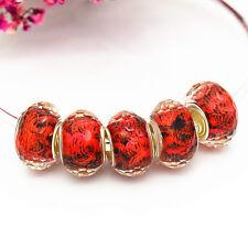 5pcs fashion  resin  charm Beads fit 925 silver European Bracelet Chain  k34
