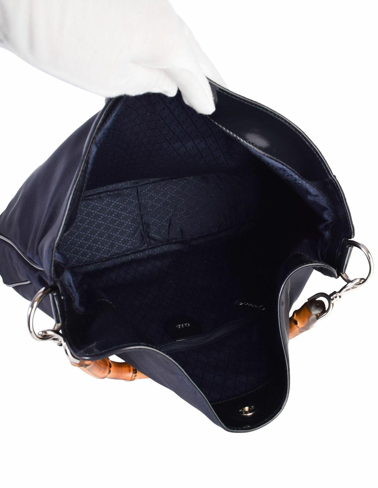 Gucci Vintage Large Navy Blue Nylon Patent Leathe… - image 10