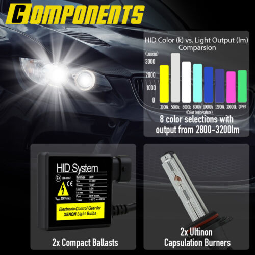 6000K HID BI-XENON 9004//HB1 HIGH//LOW BEAM HEAD LIGHTS BULBS CONVERSION KIT CC3