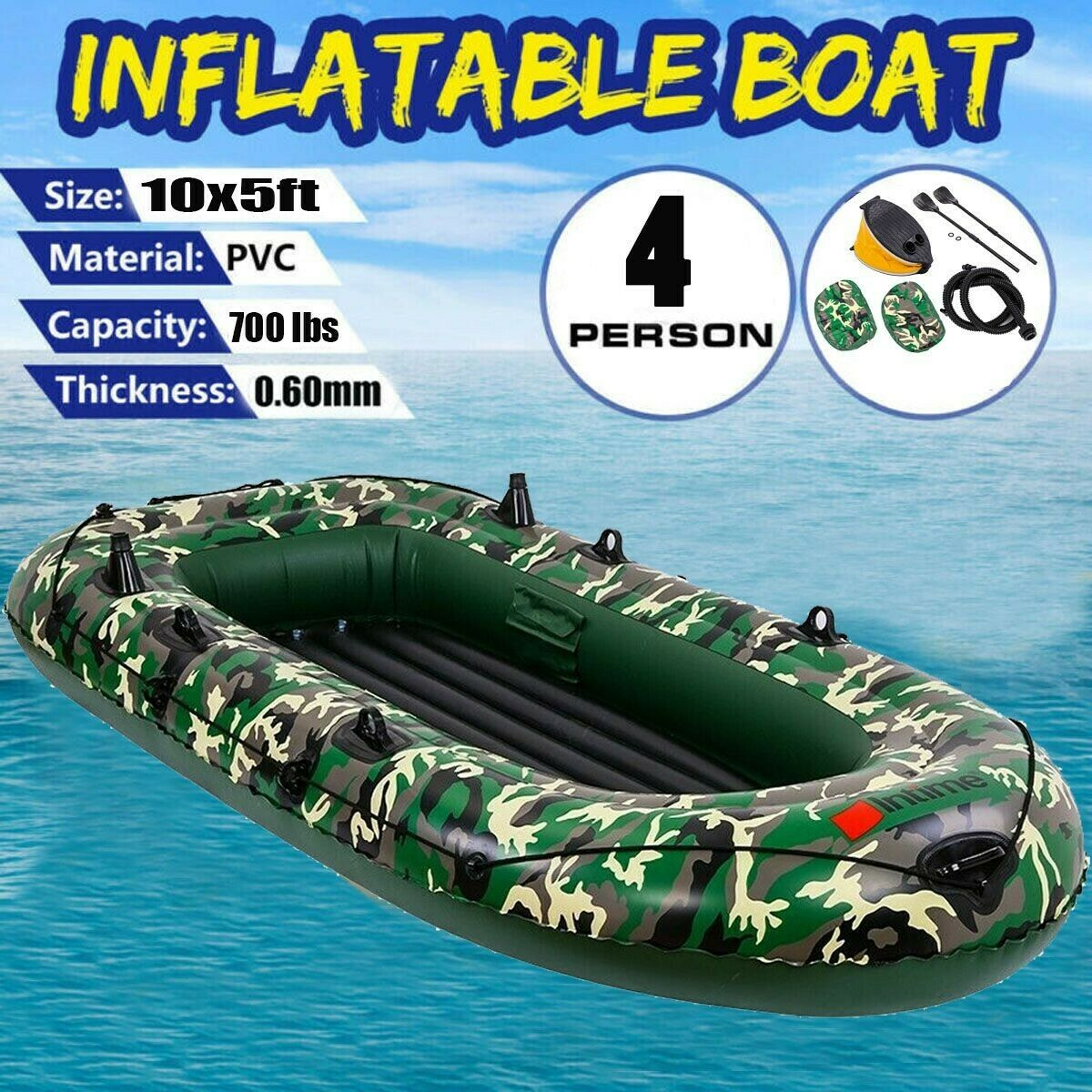 10' 4 Person Excursion Inflatable Rafting Fishing Boat Set w