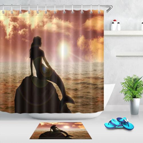 "A Mermaid Sitting on Rock Shower Curtain Set 71X71/"" Bathroom Fabric Accessories"