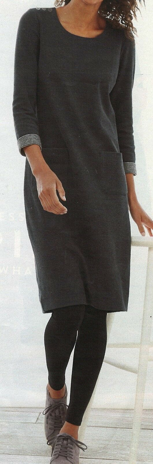 J.Jill DRESS   3X  NWT    Buttoned Shoulder Knit Dress DARK GREY