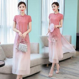 Womens-Summer-Retro-Chinese-Cheongsam-Qipao-Dress-Embroidery-Long-Dress