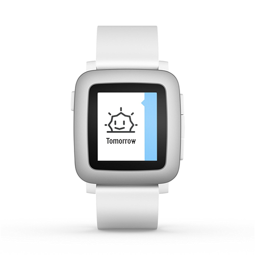 Pebble Time Smartwatch White with Silver Bezel 501-00021
