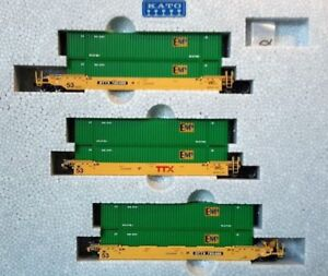 KATO-1066174-N-MAXI-IV-TTX-New-Logo-3-Well-Car-Set-w-6-EMP-Containers-106-6174