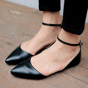 6a5f5e35b15 Women Black Pointed Toe Ankle Strap Flats Buckle Sandals Comfort ...