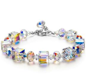 Luxury-Women-Crystal-Stretch-Bracelet-18K-White-Gold-Adjustable-Bangle-7-034-to-9-034