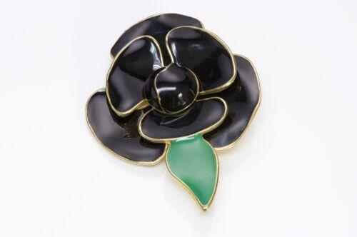 VALENTINO Garavani 1980's Black Enamel Flower Broo