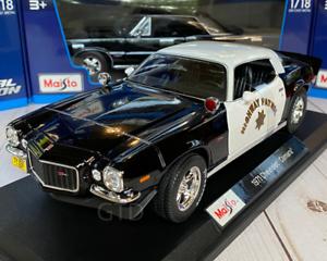 1971-Chevrolet-Camaro-Z28-Police-1-18-Maisto-escala-Diecast-Modelo-de-Coche-Nuevo-en-Caja