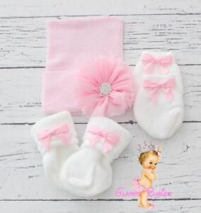 Newborn Baby Infant Girl Toddler Comfy pink Hospital Beanie Hat Big Bow SET
