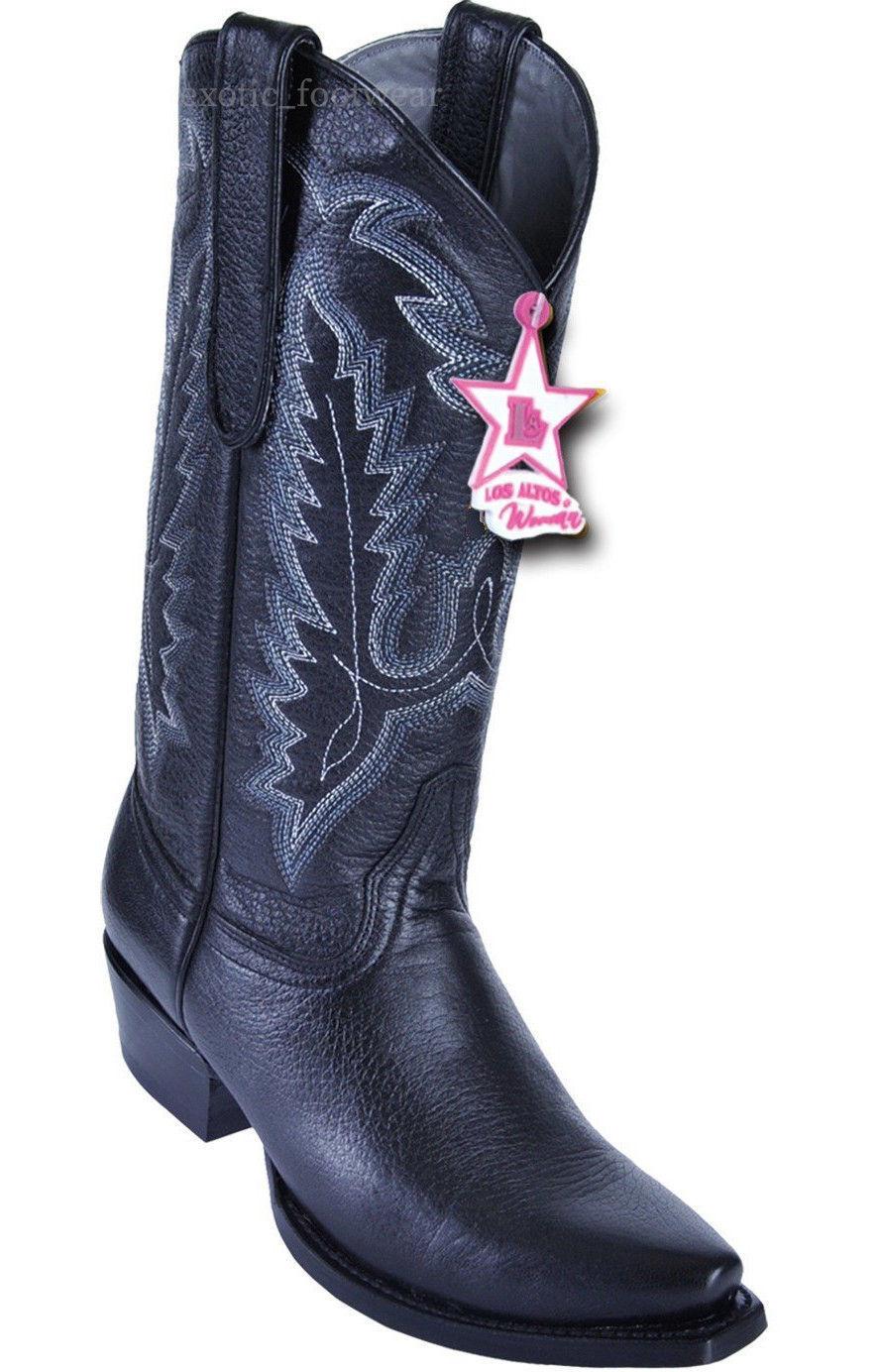 De mujer los Altos Negro Genuino Western Western Western Cowboy Bota Puntera De Ciervo SNIP 340812  nuevo listado