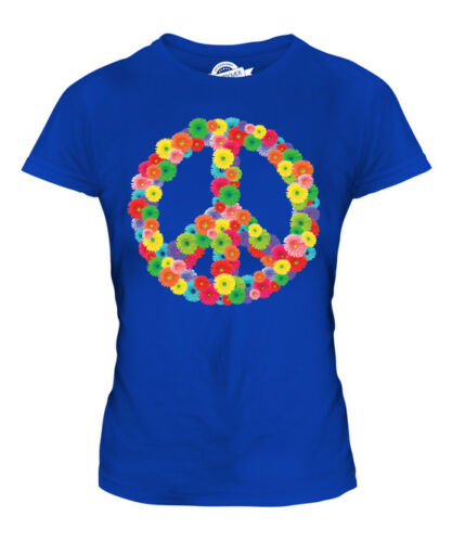 FLOWER POWER LADIES FASHION T-SHIRT HIPPY HIPSTER CND SYMBOL PEACE BAN BOMB