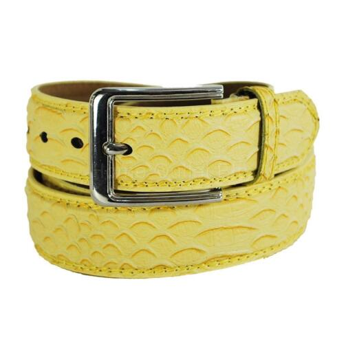 Faux Snake Skin Leather Dress Belt Stitched Edge Embossed Textured Animal Lizard