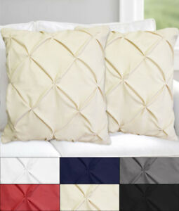 Hudson-Pinch-Pleat-Pintuck-Decorative-Throw-Pillow-18-034-x-18-034-Set-of-2-Six-Colors