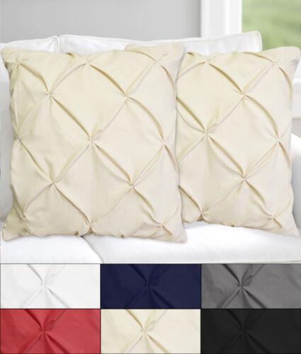 "Hudson Pinch Pleat Pintuck Decorative Throw Pillow 18/"" x 18/"" Set of 2 Six Colors"