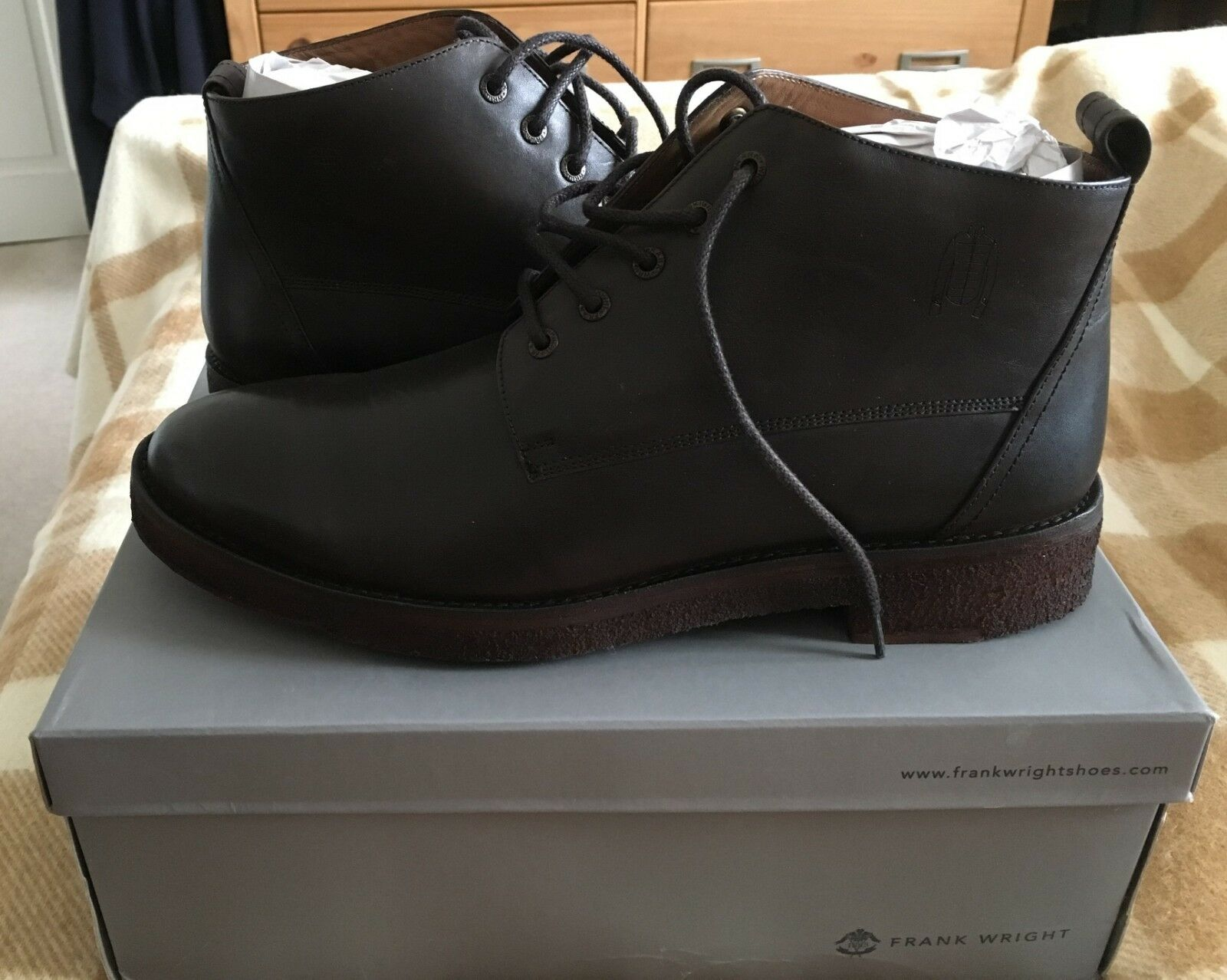 Frank Wright - Chestnut 'Russell' matt leather lace up boots - Size 11