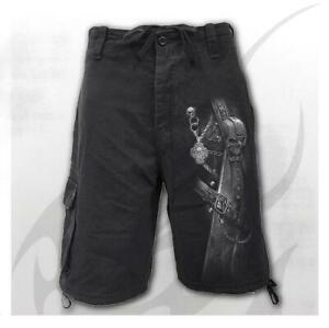 Spiral-Direct-Strapped-Mens-Black-Cargo-Shorts