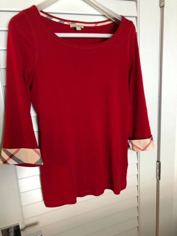 Apprehensive Burberry Womens Check Cuff Mid Sleeved Tee Shirt Size Xl Red Pleasant In After-Taste