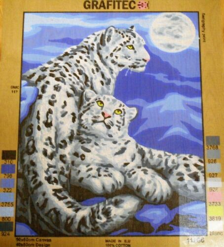 SNOW LEOPARDS TapestryNeedlepoint Canvas NEW by GRAFITEC