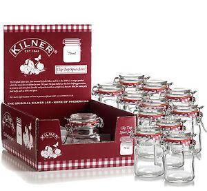 12-New-Kilner-Vintage-Square-Glass-Clip-Top-Airtight-Spice-Herb-Storage-Jam-Jars