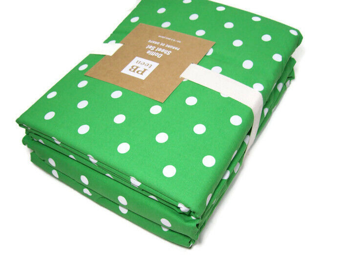 Pottery Barn Teen Green Dottie Polka Dot Cotton Full Sheet Set New