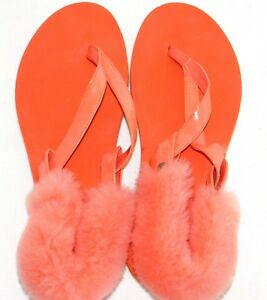 569efdba953c6 Details about NEW WOMENS SZ 9 ORANGE ZINNIA UGG LaaLaa FAUX PATENT LEATHER  FLIP FLOPS SANDALS